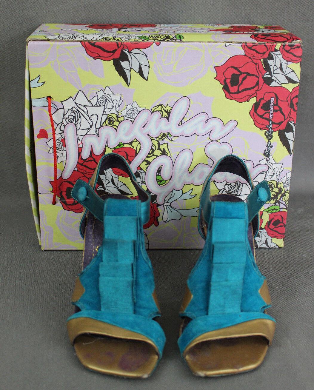 IRREGULAR CHOICE Turquoise Stairway Heel Open  Toe COURT SHOE PUMPS  Open Size 39 UK 6 d23618