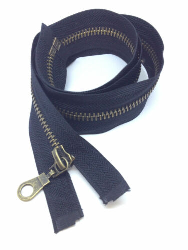 Brown /& Navy Open end #5 -Heavy Duty Black Antique Brass Metal Zips zippers