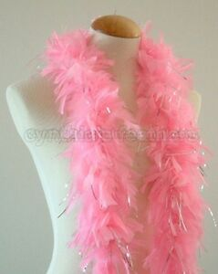 Baby Pink w// Black tips  45 Grams Chandelle Feather Boa Dance Party Halloween