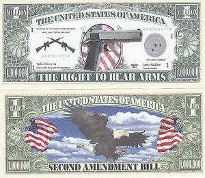 Two Right to Bear Arms Gun 2nd Amendment Novelty Bills #007