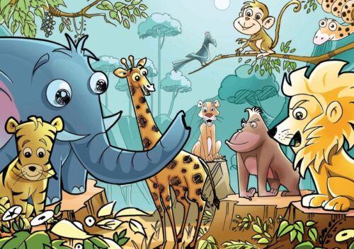 KIDS CHILDREN JUNGLE ANIMALS A3 POSTER ART PRINT YF343