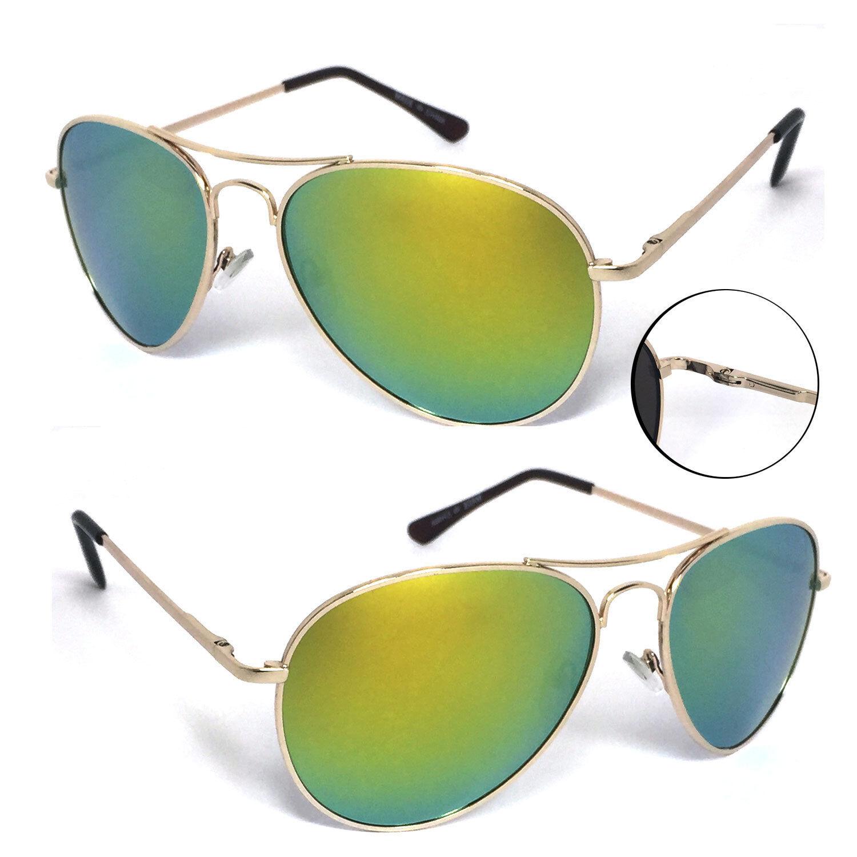 88830c889 Details about Retro Mens Aviator Spring Hinge Sunglasses - Gold / Jade  Green Mirror Lens AV01