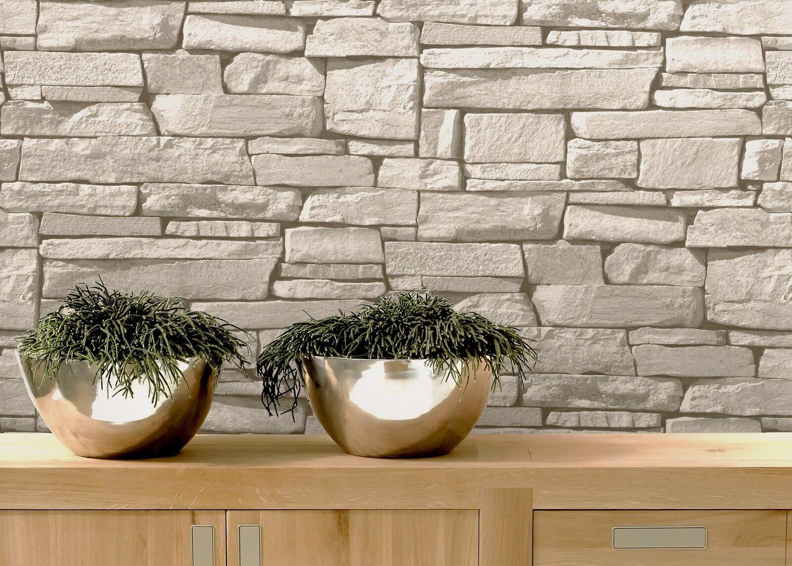 vlies tapete bruchstein stein mauer ziegelstein creme grau klinker grandeco ebay. Black Bedroom Furniture Sets. Home Design Ideas