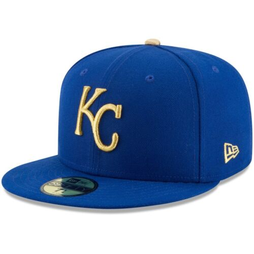 Men/'s Kansas City Royals New Era Royal GOLD Logo Game On-Field 59FIFTY HAT CAP