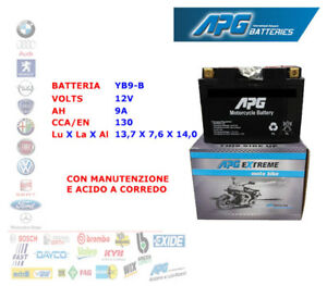 BATTERIA-MOTO-SCOOTER-QUAD-12V-9A-CCA-EN-130-YB9-B-APG-EXTREME-XETB9B