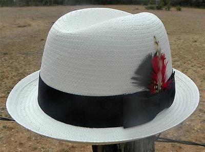 NEW Summit Hats Ivory GODFATHER Toyo Straw HOMBURG Fedora Gangster Snap Brim Hat