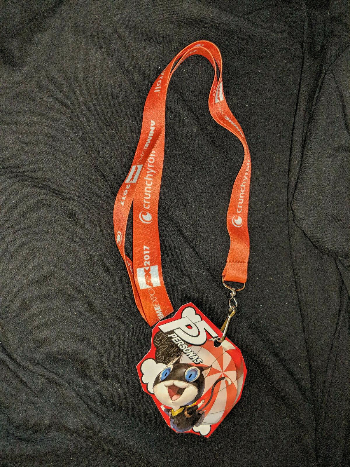 Anime Expo 2017 Crunchyroll Orange Lanyard with Persona 5 promo piece