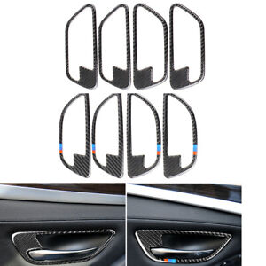 Carbon-Fiber-Inner-Door-Handle-Decorative-Frame-Cover-Trim-For-BMW-5-series-F10