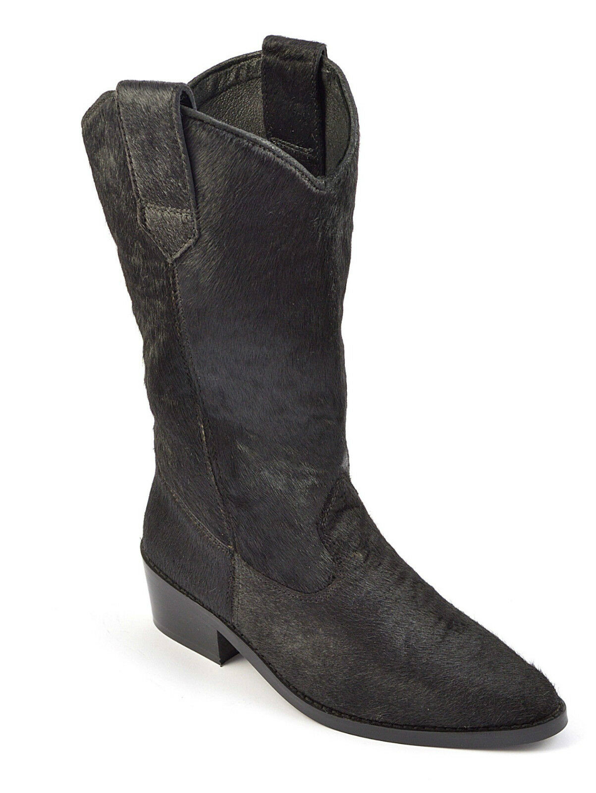 Womens Ladies Cowboy Boots Western Black Riding Calf Hair Leather Heel Shoe Size