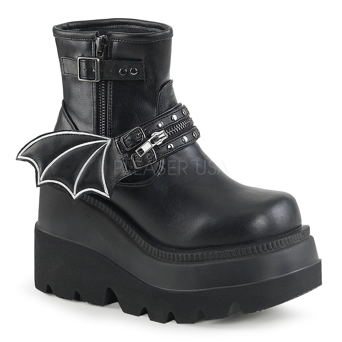 Punk Goth Gothique 4  Talon Plateforme Cheville Bottes hautes avec chauve-souris à fermeture éclair Bracelet