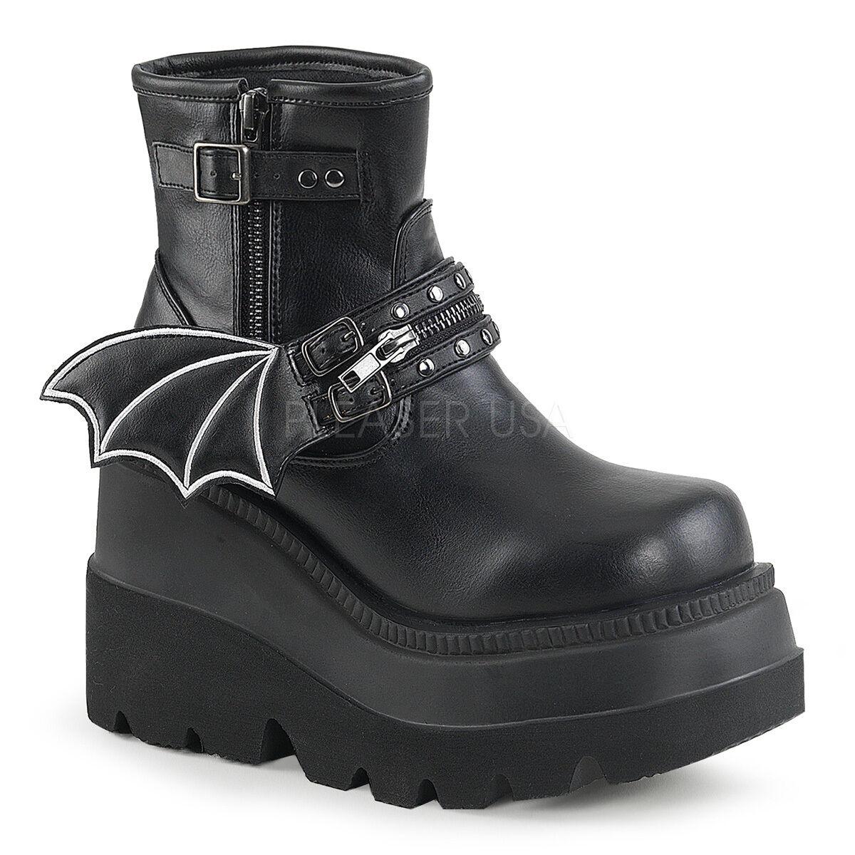 Punk Goth Gothic Gothic Gothic 4  Heel Platform Ankle High Stiefel w  Batwing Zipperot Strap f26e3a