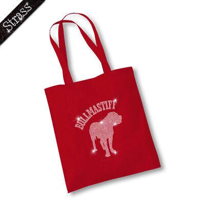 Jutebeutel Beutel Bag Einkaufstasche Shopper Strass Hund Bullmastiff M1