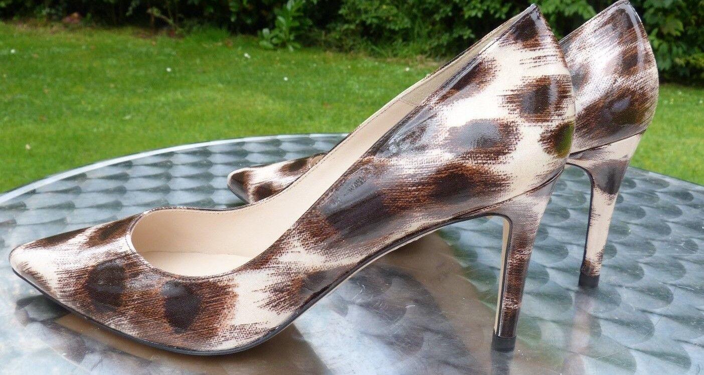 L K Bennet Fiore Leopardato brevetto alto stiletto e plateau NUOVO CON SCATOLA EU41 UK8