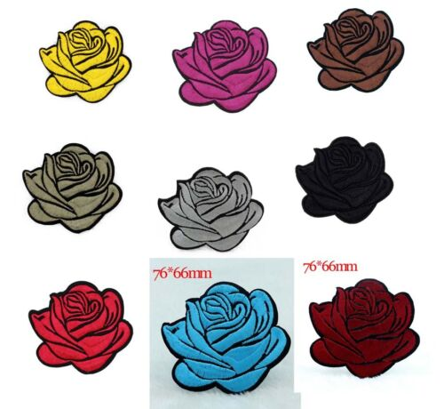 Rose flower Iron on Patches Embroidered Badge Applique Decoration Sew on for DIY