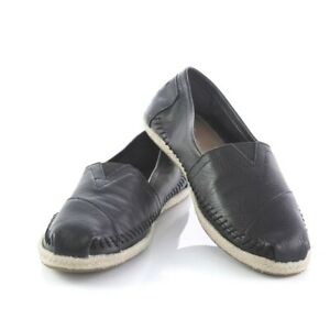 toms black leather flats loafers comfort casual shoes