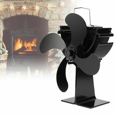4 Blade Heat Self-Powered Wood Stove Fan Top Log Burner Fireplace Silent Quiet !
