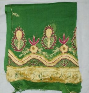 Vintage-Dupatta-Long-Stole-Pure-Chiffon-Silk-Green-Hand-Beaded-Veil