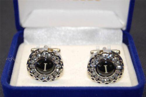 "Men/'s New Fashion Silver Cufflinks with Rhinestones Monogram Initial /""I/"""