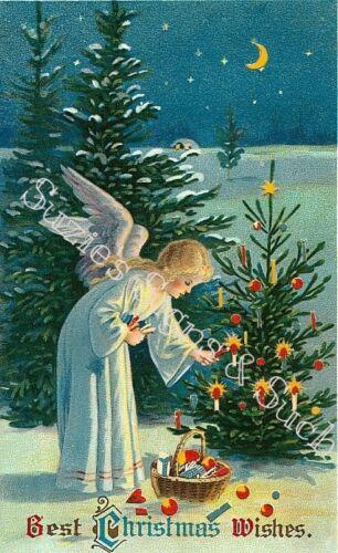 Vintage Christmas Fabric Block Christmas Angel