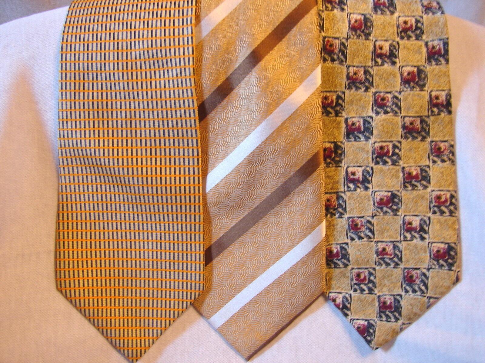 #76 Menge Von 3 Designer Gelb/Gold 100% Seidenkrawatte Arrow Co Jeans John