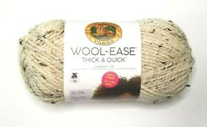 BIG-Lion-Brand-WOOL-EASE-THICK-amp-QUICK-Yarn-Oatmeal-Double-Size-Bonus-Bundle