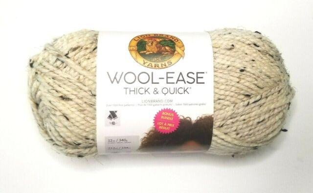 BIG Lion Brand WOOL-EASE THICK & QUICK Yarn ~ Oatmeal ~ Double-Size Bonus Bundle