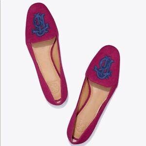 3a68a48143e Image is loading Tory-Burch-Antonia-Monogram-Loafer-Flats-Velvet-Red-