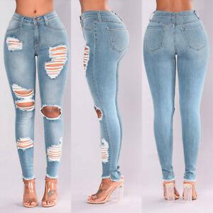 Women-Jeans-Denim-Hole-Ripped-High-Waist-Stretch-Pencil-Pants-Trousers-Leggings