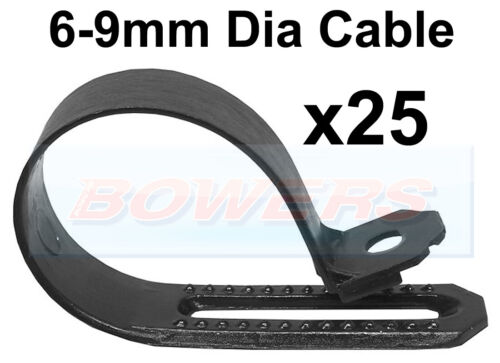 9mm DIA CABLE 25 PACK DURITE 0-002-92 BLACK NYLON ADJUSTABLE P CLIPS FOR 6mm