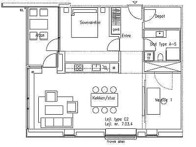 7000 vær. 3 lejlighed, m2 97, Toldkammeret