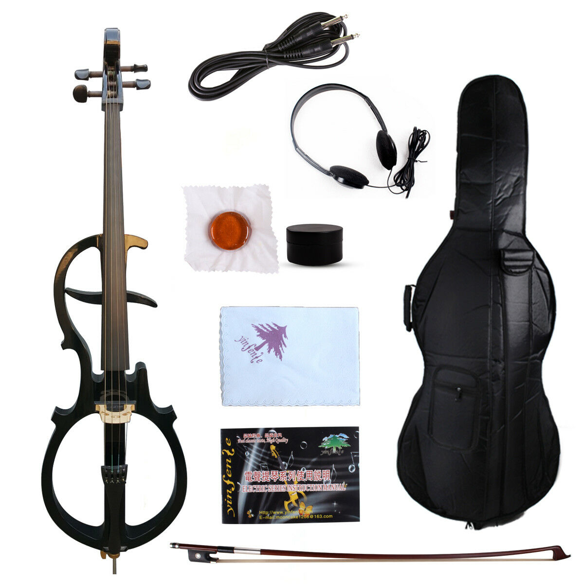 Yinfente 4 4 Electric Silent Cello Ebony parts Sweet Tone Free Bag+bow EC5