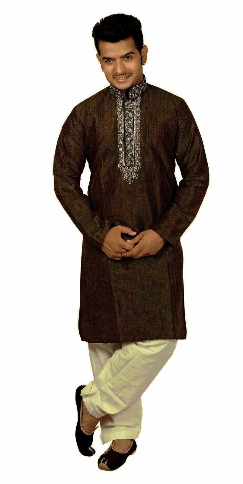 Men's Indian Darkest Brown kurta cream shalwar kameez Bollywood men sherwani 823