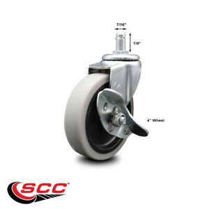 """5"""" Swivel Thermoplastic Rubber Caster /& 5//16 Threaded Stem SCC"""