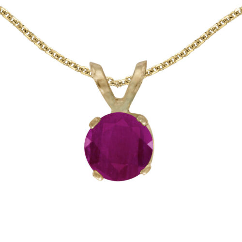 "14k Yellow Gold 5 mm Round Ruby Pendant with 18/"" Chain"