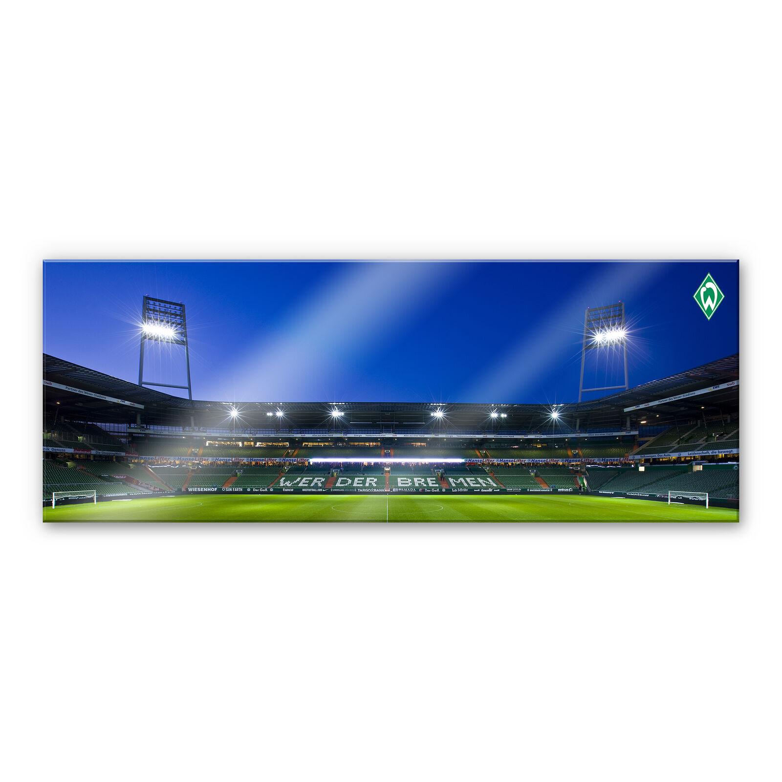 Acrylglas XXL Wandbild Werder Bremen Weserstadion Tribüne Panorama blau