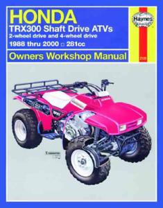Haynes Workshop Manual Honda TRX300 1988-2000 TRX Shaft ATV Repair /& Service