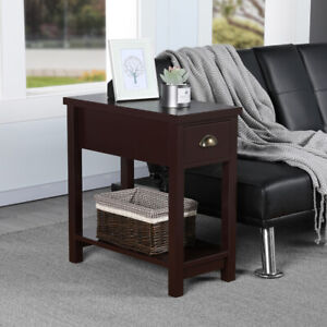 Details About Sofa Side End Table Nightstand Bedside Storage Cabinet With Drawer Shelf