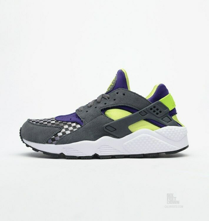Nike MEN'S Air Huarache Dark Grey Venom Green Woven SIZE 11 BRAND NEW VERY RARE