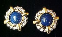 Avon Pierced Earrings 1997 Cable Blue Stone 2 Tone Surgical Steel In Box