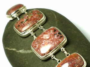 Chunky-OCEAN-JASPER-Sterling-Silver-925-Gemstone-Bracelet-Boxed