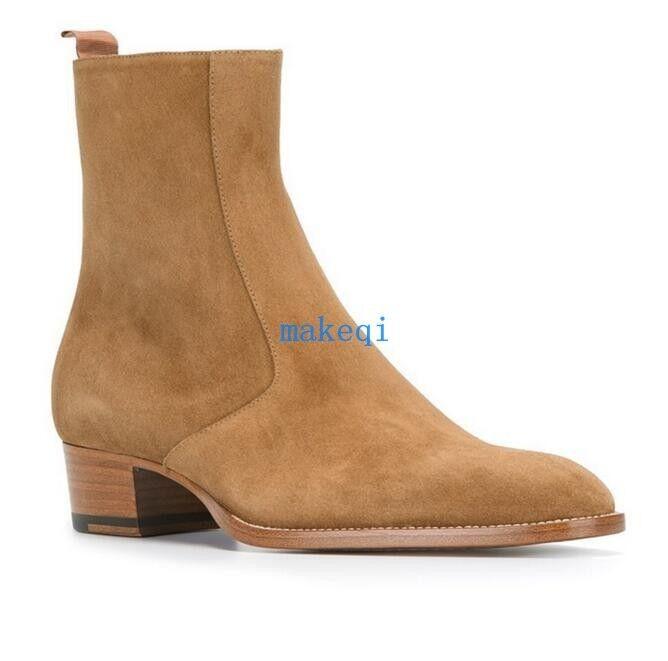 British Uomo 100% Suede Leather Pointy Toe Toe Toe Heel Ankle stivali Combat Chelsea scarpe cbd6b3