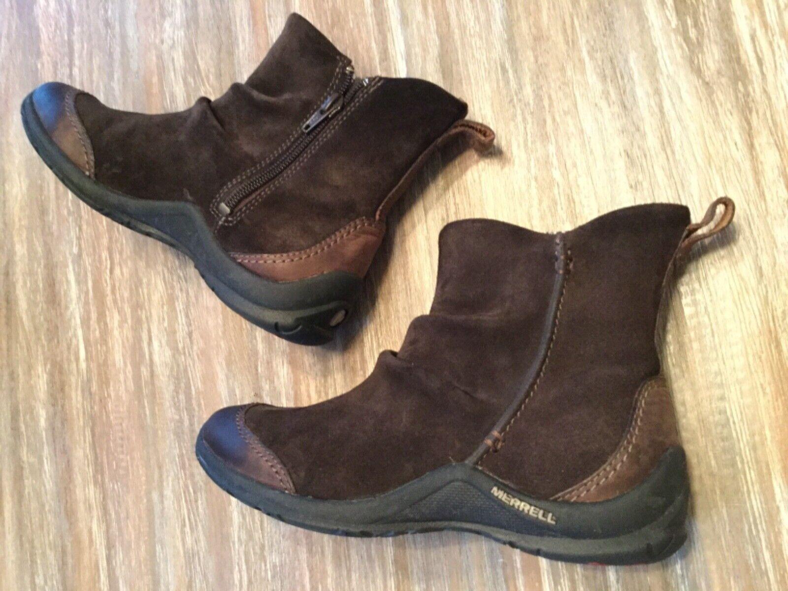 B2 Merrell Freisa Oak Womens Ankle Boots Side Zip Brown Suede Sz 6