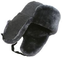 Army Officer Of Russian Federation Mouton Ushanka Winter Hat. Lambskin Sheepskin