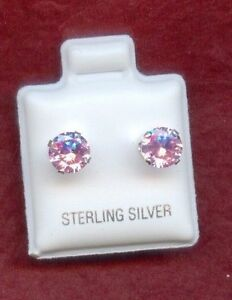 Sterling-Silver-CZ-Pink-6mm-Stud-Earrings-New-925-Crystal-round-Cubic-Zirconia