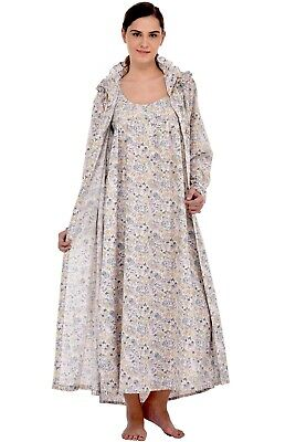 Pure Cotton Printed Nightdress/housecoat Set | Cotton Lane Offensichtlicher Effekt