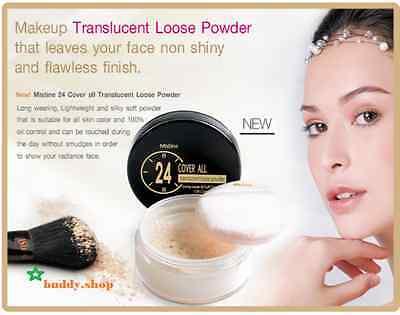 Mistine 24 COVER ALL Translucent Loose Powder Oil Control Brighten Healthy +GIFT