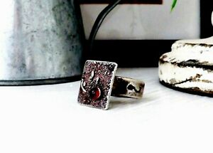 Sterling-Silver-Garnet-Modernist-Vintage-Artisan-Unique-Signed-Red-Size-5-Ring