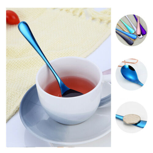 1Pc Solid Color Stainless Steel Coffee Tea Cream Cocktail Spoon Cutlery Useful