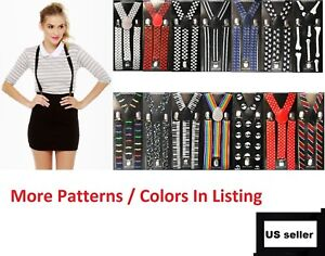 Clothing, Shoes & Accessories Mens Womens Elastic Clip-on Solid Color Y-Shape Adjustable Braces Suspenders