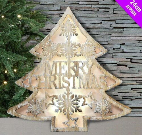 Led Wall Free Standing Wood Merry Christmas Tree Picture With Led Back Lights